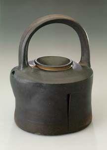 """Karen Karnes                American (b. 1925)               teapot, 1989-90               stoneware, wood-fired                H: 11-3/8""""  ..."""