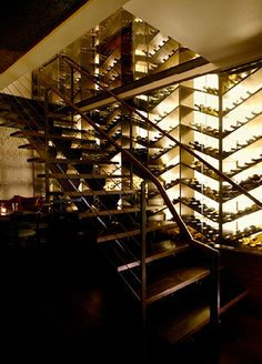 Herringbone Wine Wall - The Stanton Social Restaurant, NYC by AvroKo | A Design and Concept Firm