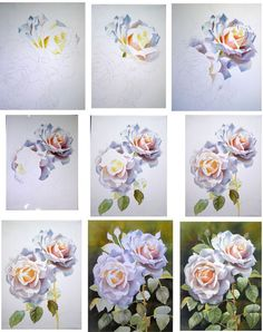 How to paint a white apricot coloured Renaissance Rose in watercolor
