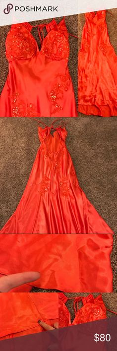 """Boutique • Long Party Dress Minor wear as shown, worn once. Could use a trip to the cleaners by new owner. Has been fitted to size 2-4. Small train. ✅ No PayPal, no trades, no lowball offers. Please submit reasonable offer using """"offer"""" feature. Bundle to save 20% or more. I do not model but am happy to provide measurements upon request. Dresses Prom"""