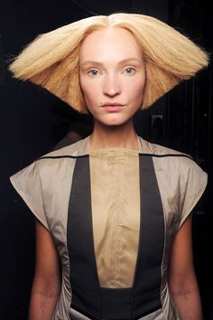 Rick Owens spring 2013...hair by Luigi Murenu. Anyone will tell you, b judd has always wanted triangle hair