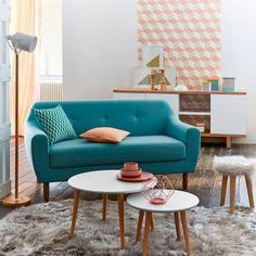 living room-small-sofa-blue - New Deko Sites Small Living Rooms, Interior, Home Furniture, Home Decor, House Interior, Apartment Decor, Home Deco, Room Decor, Interior Deco