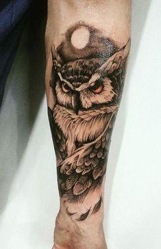 Owl Forearm Tattoo, Mens Owl Tattoo, Forarm Tattoos, Forearm Tattoo Design, Body Art Tattoos, Best Forearm Tattoos, Owl Tattoos, Tattoo Owl, Best Sleeve Tattoos