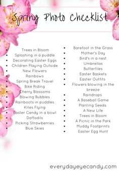Looking for ideas for photos to take this spring? Check out this Spring Photo Checklist to help you capture all the memories of spring. Photography Challenge, Photography Lessons, Photography Projects, Book Photography, Photography Tutorials, Digital Photography, Children Photography, Wedding Photography, Photography Business
