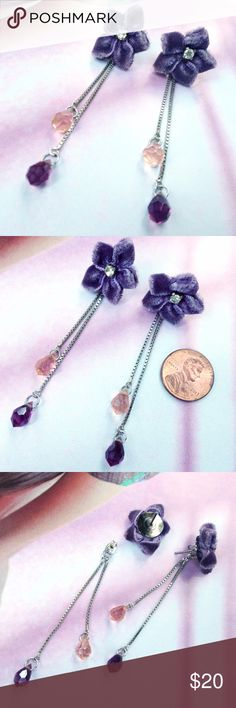 "*SALE* Velvet Violet Earrings Charming unique earrings!! Stud earrings with dangle ear jackets. Each has a five petal flower in purple velvet fabric with a prong set 4mm rhinestone center. 7/8"" width. For pierced ears. Each earring back has two strands of 1mm silver tone box chain with purple teardrop glass crystals, one light, one dark. Approx 2.5"" drop. Sweet pair! Vintage Jewelry Earrings"