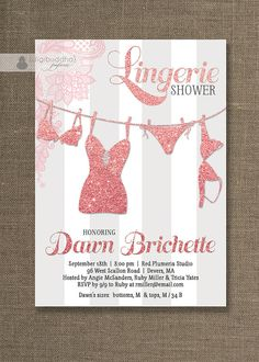 {Dawn} Pink & Silver Lingerie Shower Invitation Pink by digibuddhaPaperie, $20.00 https://www.etsy.com/listing/174902158/pink-silver-lingerie-shower-invitation