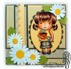 Copic card using the La-La Land Crafts - Marci with Flower Pot stamp.  Made by Marlena