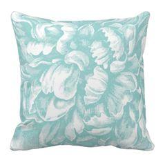 Blue Green Peony Throw Pillow