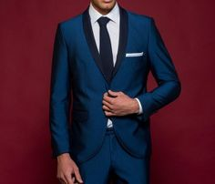 κοστούμι σμόκιν μπλε ρουά slim fit Our Wedding, Suit Jacket, Breast, Weddings, Suits, Jackets, Fashion, Down Jackets, Moda