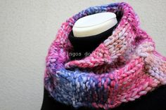 Knitted Neckwarmer in Pink/Blue Scarf  Handmade by by pingosdoceu