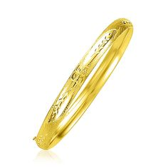 14K Yellow Gold Dome Florentine Design Bangle