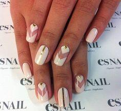 Arrow nails, Beautiful nails 2016, Fashion nails 2016, Geometric nails, Long nails, Nails with gold, Shellac nails 2016, Spectacular nails