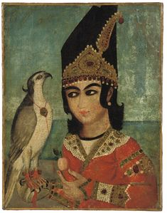 xx..tracy porter..poetic wanderlust..-A QAJAR PORTRAIT OF A PRINCE AND HIS HAWK, IRAN, SIGNED, MID-19TH CENTURY