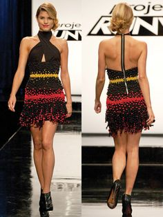 "Dress by Dmitry Sholokhov, made of ""materials"" from ""Dylan's Candy Bar ~ Project Runway Recap: How Sweet It (Mostly) Was -- The Cut"