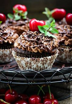 Chocolate Cupcakes with Coffee Frosting & Cherries Cherry Cupcakes, Yummy Cupcakes, Cupcake Cookies, Cupcake Cupcake, Chocolate Coffee Cupcakes, Delicious Desserts, Yummy Food, Mini Cakes, Cupcake Recipes
