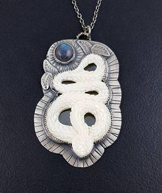 MicheleGradyDesigns - Snake Necklace carved bone necklace labradorite necklace #etsymetalteam