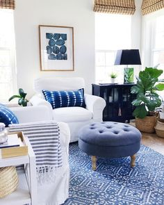 home decor blue Living room decor with blue and white accents - Jane at Home Coastal Living Rooms, Home And Living, Blue Living Rooms, Modern Living, Blue Rooms, Coastal Cottage, Coastal Homes, Cozy Living, White Living Room Furniture