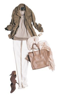 ❤️ white pants or white jeans, tan or blush top, olive green utility jacket. Wear with leather sandals or wedges or chucks