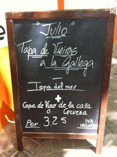 Tapa del mes de Julio: Vieiras a la Gallega #restaurantes #gastronomía #madrid Tapas, Chalkboard Quotes, Art Quotes, Madrid, Food, Gastronomia, Scallops, Wine Goblets, Oblivion