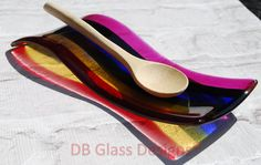 Handmade Fused Glass Rainbow Spoon Rest Unique by DBGlassDesigns