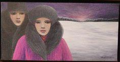 Couple en hiver, Acrylique 6x12,Monique Mercier 1999 (15) Oeuvre D'art, Les Oeuvres, Mona Lisa, Portraits, Collection, Couples, Artwork, Painters, Canvas