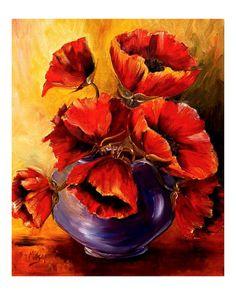 Bowl of red poppies - artist Diane Millsap.