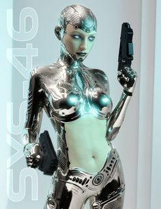 System 46 is a highly detailed level 4 sculpted morph for Genesis 3 Female, she comes as full Android & Half Human morphs. The suit is a Geometry Shell allowing for use on any Genesis 3 Female enabling the use of their own skins for face and torso, Cyborg Girl, Female Cyborg, Human Cyborg, Chica Cyborg, Robot Tattoo, Robots Characters, Fictional Characters, Arte Robot, 3d Modelle