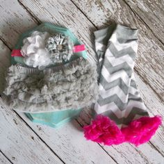 CAKE SMASH OUTFIT 1st Birthday Hot Pink Grey by LolaBeanClothing, $26.95
