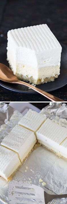 The Macadamia Nut crust!❤️ This recipe for Vanilla Bean Cheesecake bars on a buttery macadamia nut crust is easy, decadent, and delicious! A giant, beautiful dessert for company. Vanilla Bean Cheesecake, Cheesecake Bars, Cheesecake Recipes, Cheesecake Cupcakes, Vegan Cheesecake, 13 Desserts, Dessert Recipes, Oats Recipes, Recipies