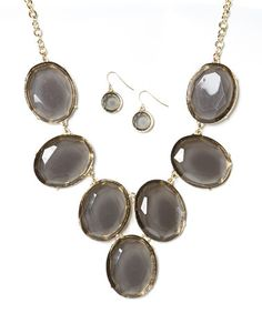 Another great find on #zulily! Gold & Smoke Big Oval Bib Necklace & Earrings by Ethel & Myrtle #zulilyfinds