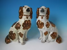 Large Pair Staffordshire legs-free copper lustre spaniels | ID#18490 | Madelena