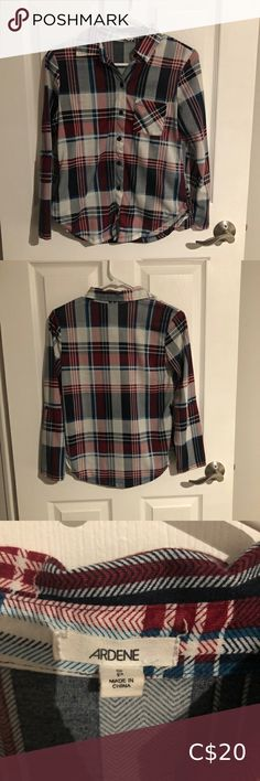 Flannel • small flannel • stretch breathable light material Ardene Tops Button Down Shirts Yellow Flannel, Plaid Flannel, Blue Plaid, Flannel Shirt, Black N Yellow, Red And Blue, Jean Shirts, Blue Blouse, Chambray