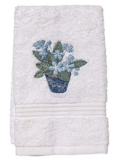 Gorgeous #embroidered Terry Guest Towels with blue flowers will add a splash of color and decor to your bath!