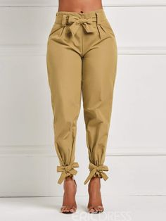 Women's High Waist Long Pants Casual With Sash Bow Pencil Pants For Female Ruffle Bow Tie Solid Work Tie Bottom Trousers Trouser Pants, Harem Pants, Pants For Women, Clothes For Women, Fashion Pants, Women's Fashion, Fashion Outfits, Casual Pants, Women's Casual