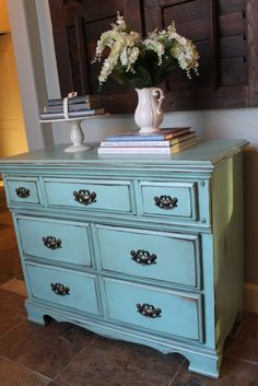 Bought an awesome vintage dresser with crazy detail today. Now to get to work on turning it into something like this for my living room! Milk Paint Furniture, Furniture Projects, Furniture Makeover, Painted Furniture, Turquoise Dresser, Living Room Accents, Distressed Furniture, Home Bedroom, Bedrooms
