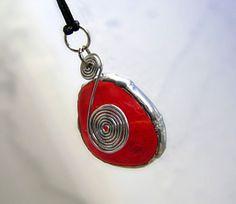 Orange Tangerine Glass Pendant Necklace by GothicGlassStudio, $15.00