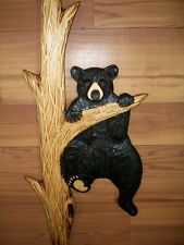 Hand Carved BLACK BEAR CUB CLIMBING up a TREE Wall Chainsaw Wood Carving Cabin