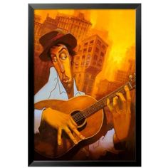 Art.Com  El Guitarrista Framed Art Print (£135) ❤ liked on Polyvore featuring home, home decor, wall art, multi, black wall art, black home decor, framed wall art and black framed wall art