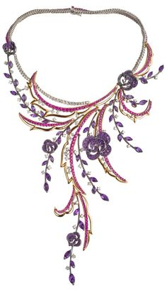 Carmen Necklace : WHITE GOLD, PINK GOLD, DIAMONDS (CT 10,47), SAPPHIRES (CT 16,56) AND AMETHYST-Haute Tramp