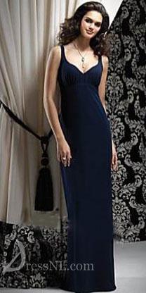Dark Navy Modest V-Neck Satin Evening Dress