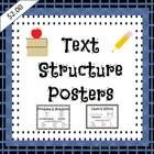 Common Core: Text Structure, 5 text structures each with bold title, key words, and suggested graphic organizer; includes summary template