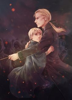 Protective dad Draco and his beloved son Scorpius.♡ I had a few people (and anons) ask for some dad Draco + Scorpius art, so here you go! The shadows in the BG kinda look like dementors, but if you squint you can kinda see that they're a mass of...