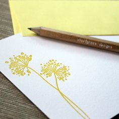 letterpress flat notecards set of 10 yellow by shortgrassdesigns