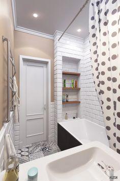 Современная чернобелая ванная |  Студия LESH (дизайн ванной, современная ванная, ванная комната, этнический, маленькая ванная)
