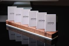Multiple Vertical Business Card Display / Walnut and Acrylic