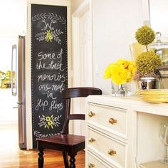 A newaddition to the Chasing Paper family, the peel & stick chalkboard! Panels can be used to cover your fridge, an accent wall, the backsplash in your ki