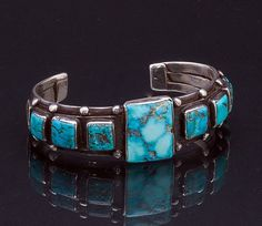 Early Navajo Turquoise Bracelet  - pre 50s - Shoshone Turquoise Sterling Cuff