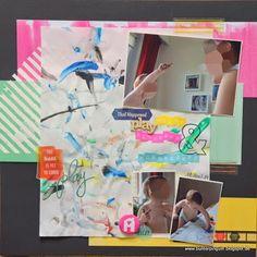Bunterpinguin: Scrapbooklayout für HappyScrappyFriends Gastdesign mit Amy Tangerine