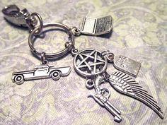 $17.00 SUPERNATURAL Sam, Dean & Castiel Keychain with SIX Charms - Custom Orders Welcome