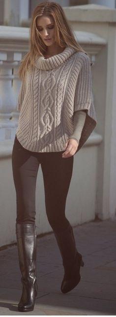 Chunky Sweater Poncho